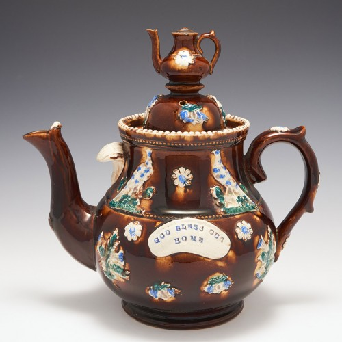 A  Large Measham Pottery Barge Teapot and Cover c1890