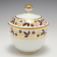 A Worcester Barr Period Porcelain Sucrier and Cover c1800