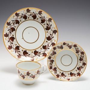 A Worcester Barr Period Porcelain Tea Cup, Saucer and Tea Plate c1800