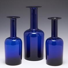 A Set of Three Holmegaard Blue Gulvæse By Otto Brauer c1965