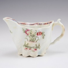 A Worcester First Period Porcelain Low Chelsea Ewer c1775