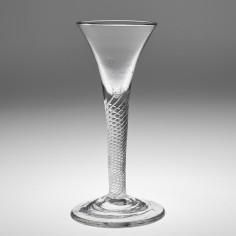 Drawn Trumpet Bowl Air Twist Wine Glass c1750