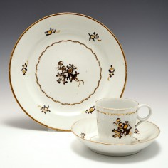 A Chamberlain Worcester Porcelain Coffee Cup, Saucer And Plate c1795