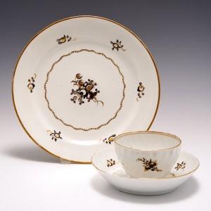 A Chamberlain Worcester Porcelain Tea Bowl, Saucer  and Plate c1795