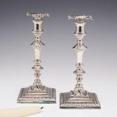 Pair of Edwardian Sterling Silver Tapersticks Sheffield 1910