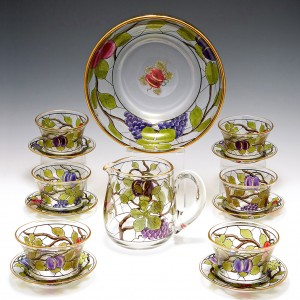 A Webb Corbett Enamelled Glass Dessert Set c1940