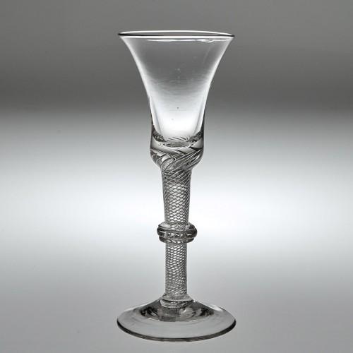 Very Rare Georgian Air Twist Wine Glass With Annular Knop c1750
