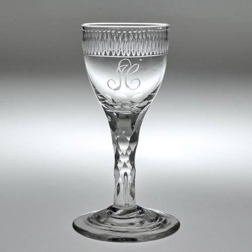 Engraved Georgian Facet Cut Stem Wine Glass c1770