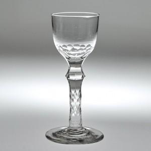 Facet Cut Stem Wine Glass c1780