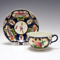 Worcester Scale Blue Fancy Birds Tea Cup and Saucer c1770