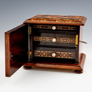Tunbridge Ware - Miniature Cabinet With Three Internal Drawers c1860