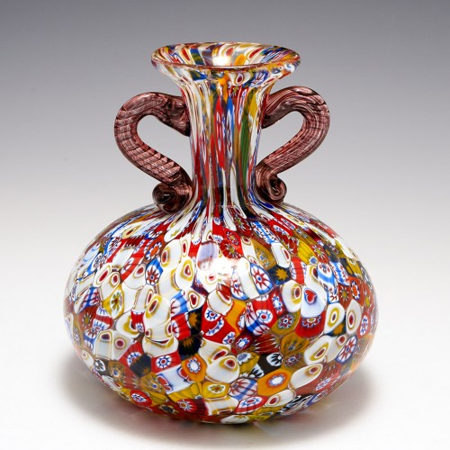 A Salviati Millefiori Murrine Two Handled Flask c1950