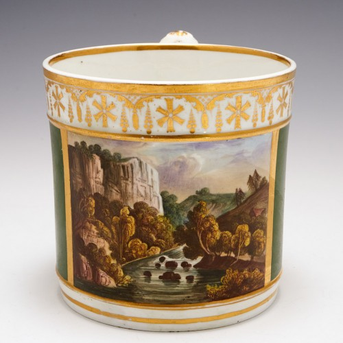 A Chelsea-Derby Porcelain Named View Porter Mug 1775-80