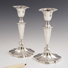 Pair Sheffield Sterling Candlesticks 1907