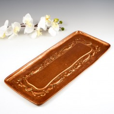 An Arts and Crafts Slender Rectangular Newlyn Copper Tray c1920
