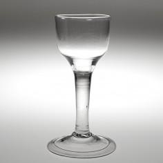 Large Ogee Bowl Plain Stem Wine Glass c1745