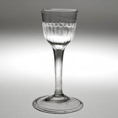 Rib Moulded Georgian Plain Stem Wine Glass c1745