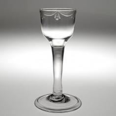 Neoclassical Engraved Georgian Wine Glass c1750