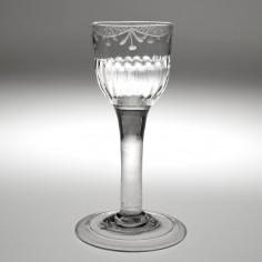 A Georgian Wheel Engraved Plain Stem Wine Glass c1750
