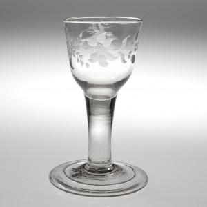 A Georgian Plain Stem Short Wine or GinGlass c1750