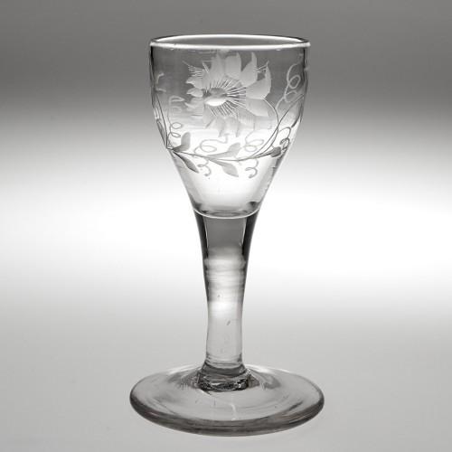 A Georgian Jacobite Sympathy Short Wine Glass c1750