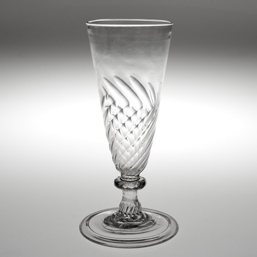 A Georgian Half Wrythen Ale Glass With Ribbed Knop And Folded Foot c1750