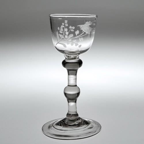 An Engraved Georgian Balustroid Gin Glass c1740