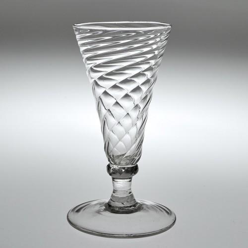 A Wrythen Moulded Dwarf Ale Glass c1770