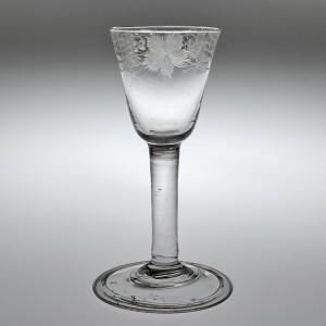 Engraved Georgian Plain Stem Wine Glass With Folded Foot c1750