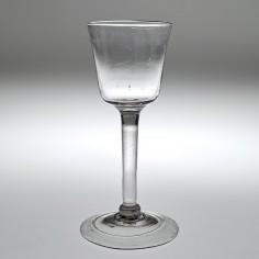 Tall Bucket Bowl Georgian Plain Stem Wine Glass c1745