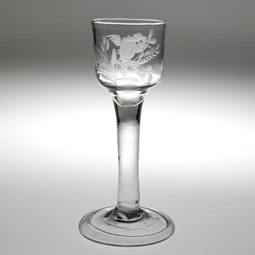An Engraved Georgian Wine Glass c1750