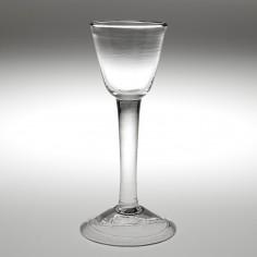 A Georgian Plain Stem Wine Glass c1750