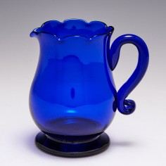 A Victorian Blue Glass Jug c1850
