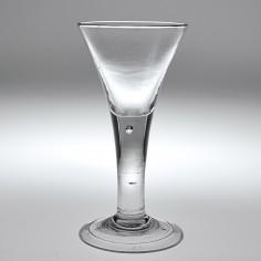A Georgian Drawn Trumpet Plain Stem Wine Glass c1745