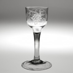 A Georgian Plain Stem Engraved Wine Glass Circa 1745