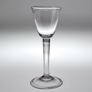 An 18th Century Plain Stem Wine Glass c1745