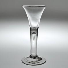 An 18th Century Drawn Trumpet Plain Stem Wine Glass c1750