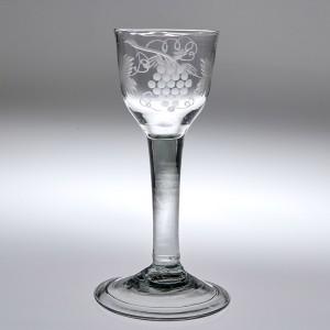 A Georgian Engraved Plain Stem Wine Glass c1750
