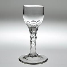 A Georgian Facet Cut Stem Wine Glass  c1770