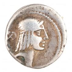Roman Republic L. Calpurnius Piso L.f Frugi Silver Denarius, Left Facing Horse, c90BC