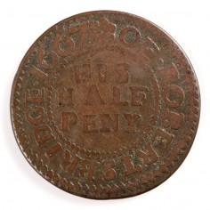 Robertsbridge Sussex, Robert Grove, Draper, Copper Halfpenny Token, 1667