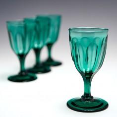Four Slice Cut Green Wine Glasses c1840