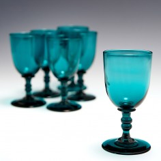 A Set of Six Victorian Peacock Blue Wine Glasses c1855