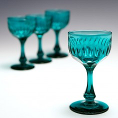 A Very Fine Set Of Four Teal Blue Wine Glasses c1870