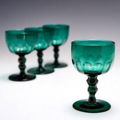 Four Victorian Green Wine Glasses c1865