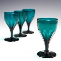 Four Emerald Green Wine Glasses 1825-50