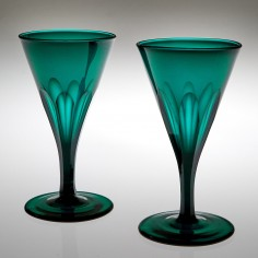 Pair Emerald Green Wine Glasses 1820