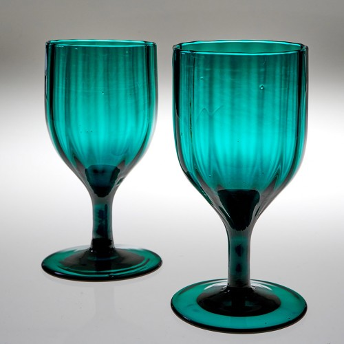 A Pair Of Peacock Blue Rib Moulded Wine Glasses 1780-1810
