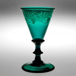 Engraved Victorian Green Wine Glass c1855