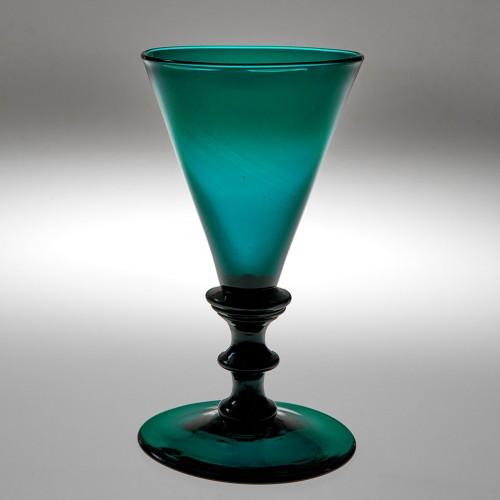 Georgian Teal Colour Wine Glass c1815